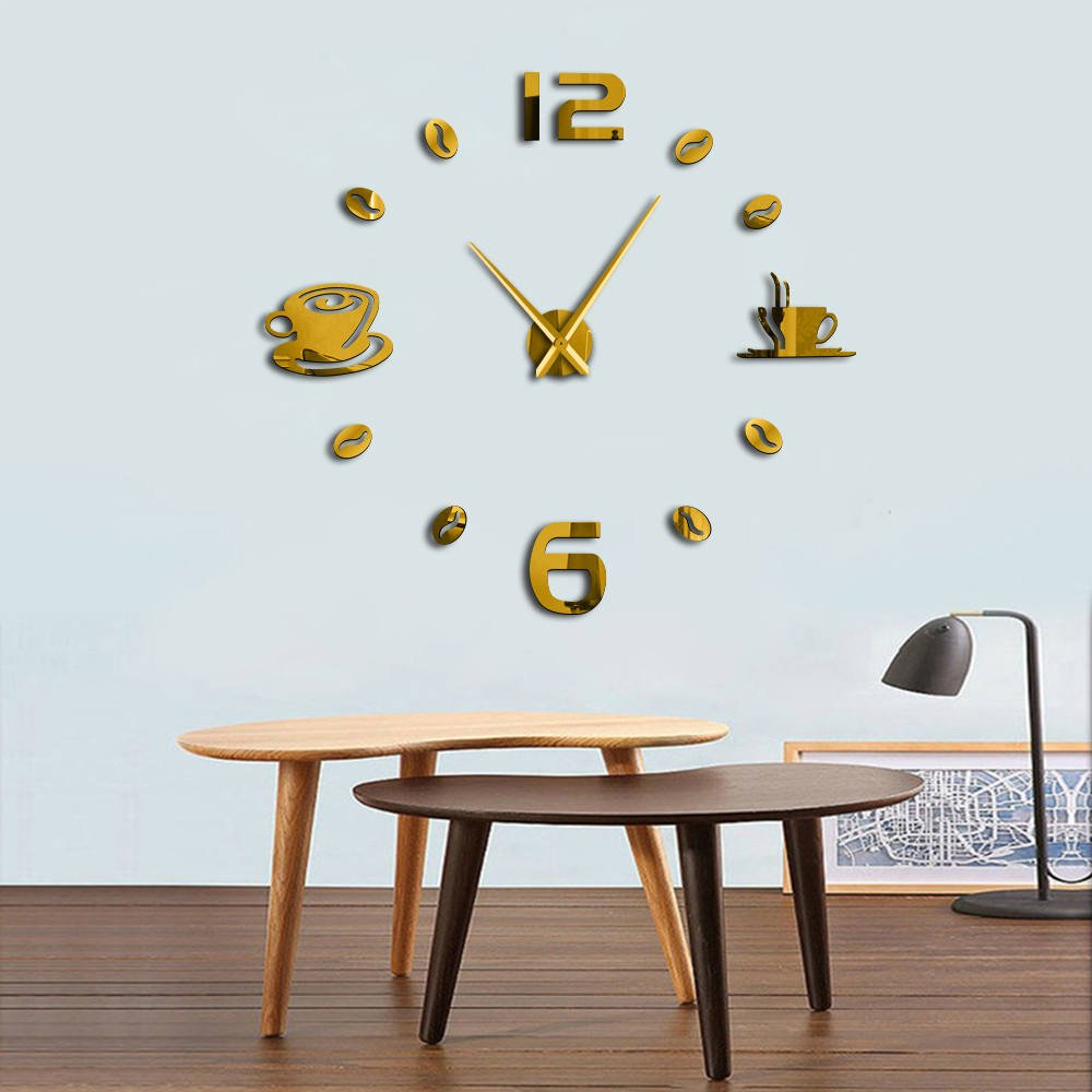 ptk12 Reloj de Pared – 1 Pieza DIY café Tiempo Gran número Reloj ...