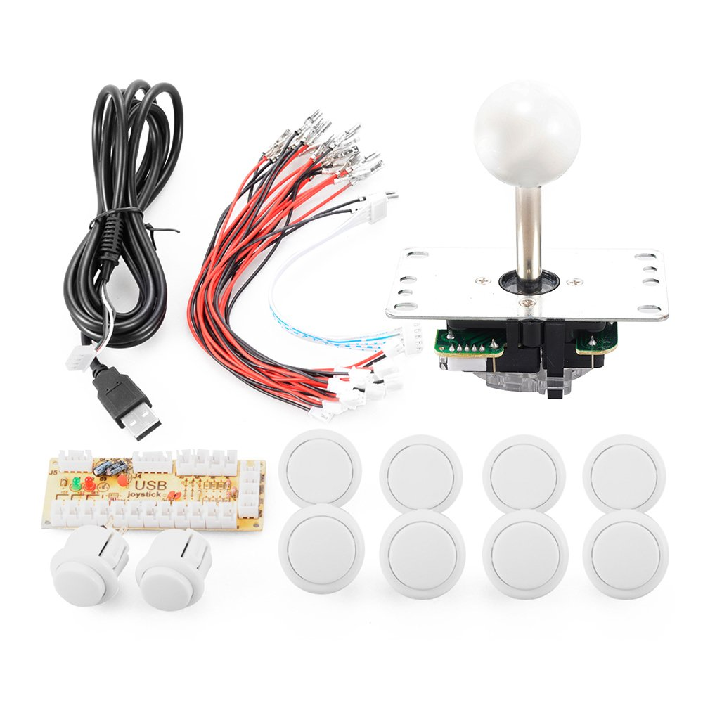 ZYOU Zero Delay Arcade Buttons Game USB Encoder PC Joystick Controller DIY Kit for Mame Jamma & Other PC Fighting Games White