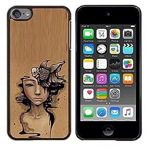 Eason Shop / Premium SLIM PC / Aliminium Casa Carcasa Funda Case Bandera Cover - Arte Significado de color marrón oscuro Pintura - For Apple iPod Touch 6 6th Touch6