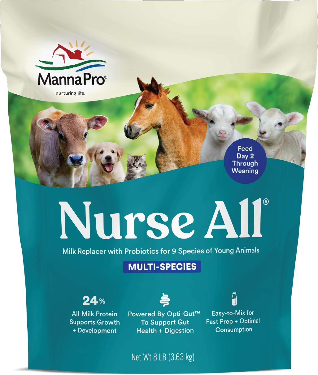 Manna Pro Nurse All Multi Species Milk Replacer with Probiotics for Horses   Formulated with All-Milk Protein to Promote Growth and Development   Helps Support Healthy Gut and Digestions  8lbs