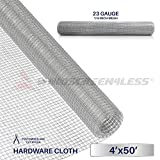 Windscreen4less 23 Gauge 1/4 Inch Square Galvanized Mesh Hardware Cloth 48-Inch Tall Custom Size Cut-to-length 4ft x 50ft