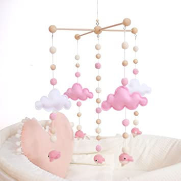97d542832ad5b Baby Crib Mobiles for Girls Creative Hanging Toys Bed Bell Rattle Toys  White and Pink Felt Balls Wooden Wind Chimes Tent Hanging Cloud Cot Mobile  ...