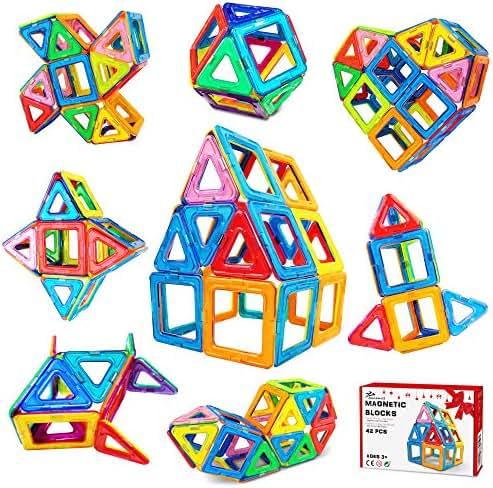 Jasonwell 42 Pcs Magnetic Tiles Building Blocks Set for Boys Girls Preschool Educational Construction Kit Magnet Stacking Toys for Kids Toddlers Children Age 3 4 5 6 7 8 Year Old
