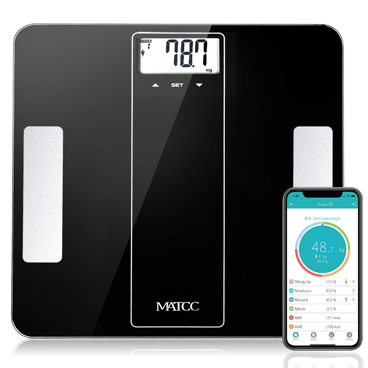 MATCC Bluetooth Body Fat Scale Smart Digital Wireless Weight Bathroom Scale with iOS and Android APP Body Composition Analyzer Health Monitor 400 lbs Capacity