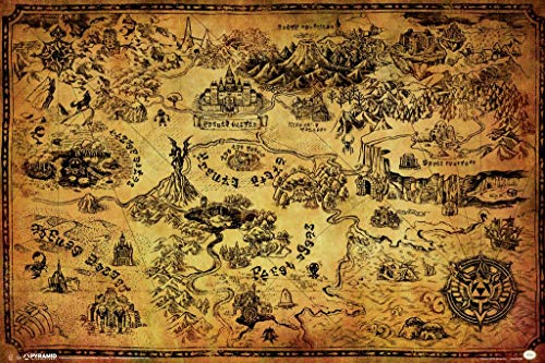Pyramid America Laminated Legend Zelda Map Video Gamer Sign