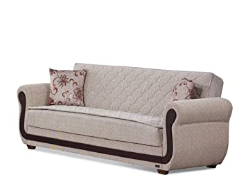 BEYAN Newark Collection Large Folding Sofa Sleeper Bed with Storage Space and Includes 2 Pillows, Light Brown