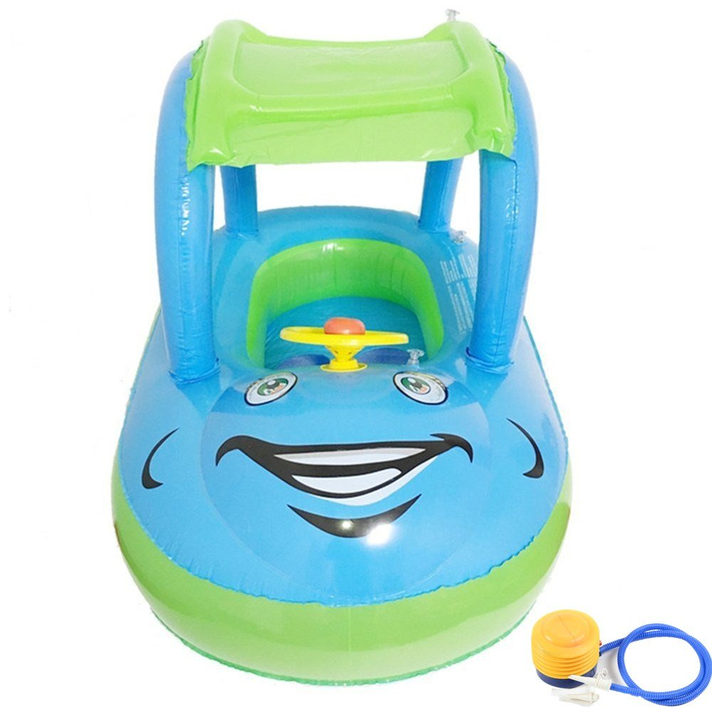 NHSUNRAY Kids Anti-Uv Canopy Inflatable Swim Ring Float Seat Flotador para Bebé con Asientoy Techo Juguete de Piscina Flotador ajustable inflable para bebés ...