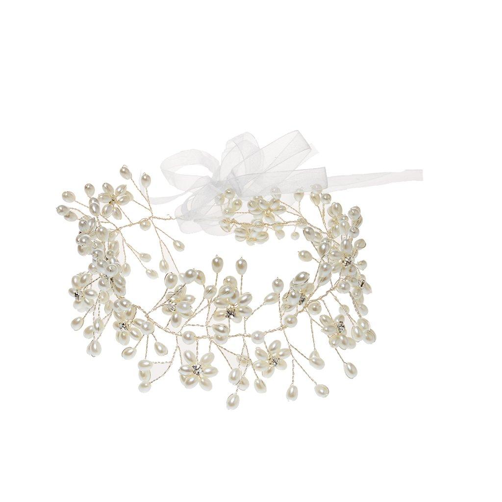 Gypsophila Ivory Spray Pearl Crown Garland Hair Head Band Bride Girl Prom Generic STK0156008268