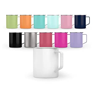 Maars Townie Insulated Coffee Mug, 14 oz | Double Wall Vacuum Sealed Camp Cup | 2 Pack - Silver