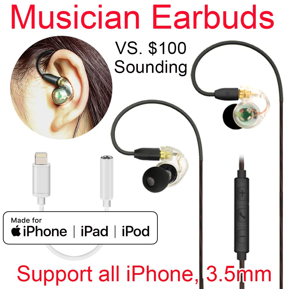 Daioolor EP187 Wired Musician Earbuds Compatible Lightning iPhone Earphones - 3 Month Refund-Return for Quality Issue by DAIRLE