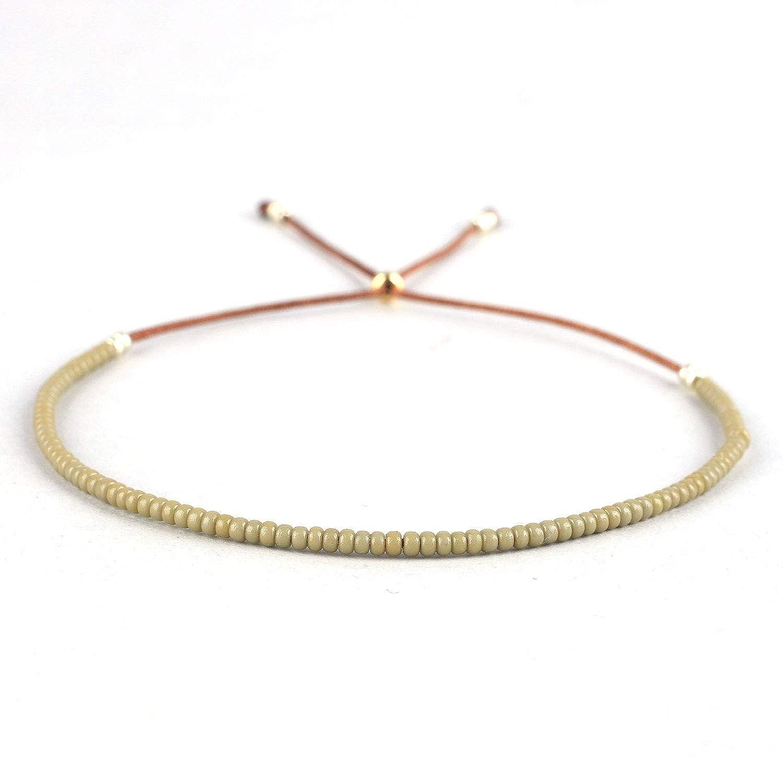 KELITCH Seed Beaded Strand Bracelet Handmade Friendship Adjustable String Bracelets Fashion Jewelry for Women Girls