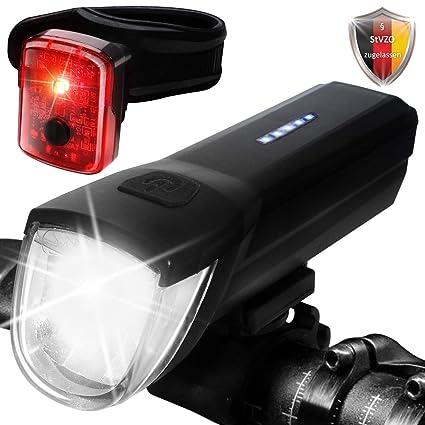 LED Vorne /& Hinten Lampe Fahrradlampe Halter Fahrradbeleuchtung Fahrradlicht Set