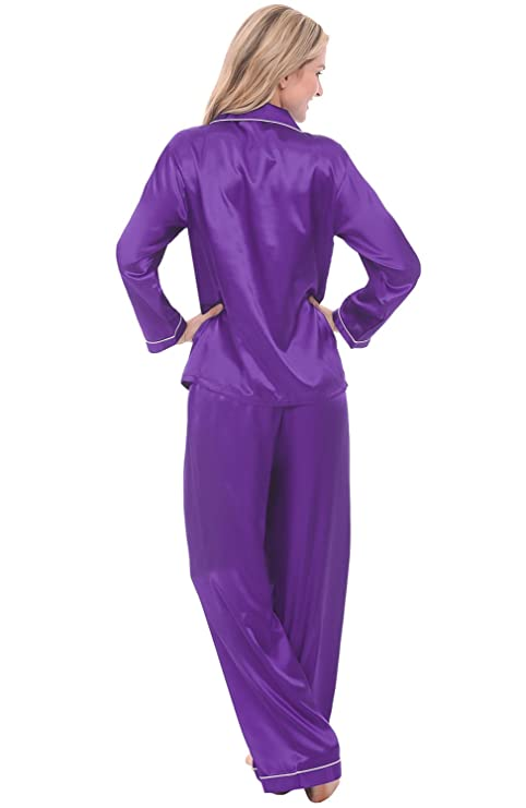 Alexander Del Rossa Womens Solid Color Pajamas, Long Button-Down Pj Set and Mask at Amazon Womens Clothing store: