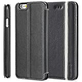 "Fosmon® Apple iPhone 6 Plus Case (CADDY-TONE) Leather Multipurpose Flip Wallet Cover Case with (Card Pocket Slots) & (Built-in Stand) for Apple iPhone 6 Plus 5.5"" - Fosmon Retail Packaging (Black/White(Stripe))"
