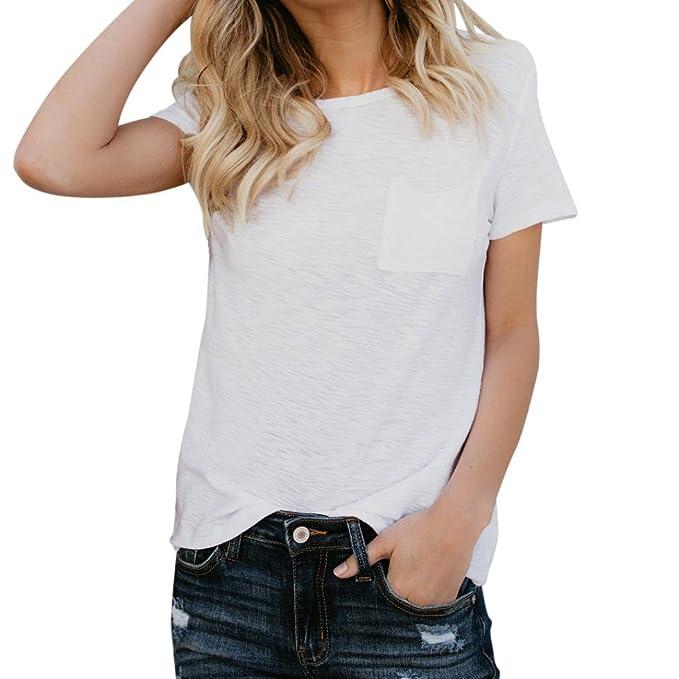 6d9542fdb35 QinMM Camiseta Básica de Algodón Suelta para Mujer