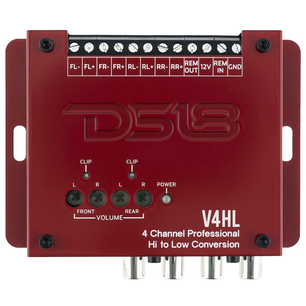 Ds18 V4hl 4 Channel Line Out Converterhigh Level Lc2i Wiring Diagram Speaker Signal To Low Rca Adapter Built In Audio Sensing Technology Produces Remote
