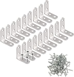 18 Pcs 40mm x 40mm Stainless Steel Corner Braces,Joint Right Angle Brackets,L Shaped Bracket Fastener with 75 Pcs Screws for Shelves,Wall,Furniture Hanging