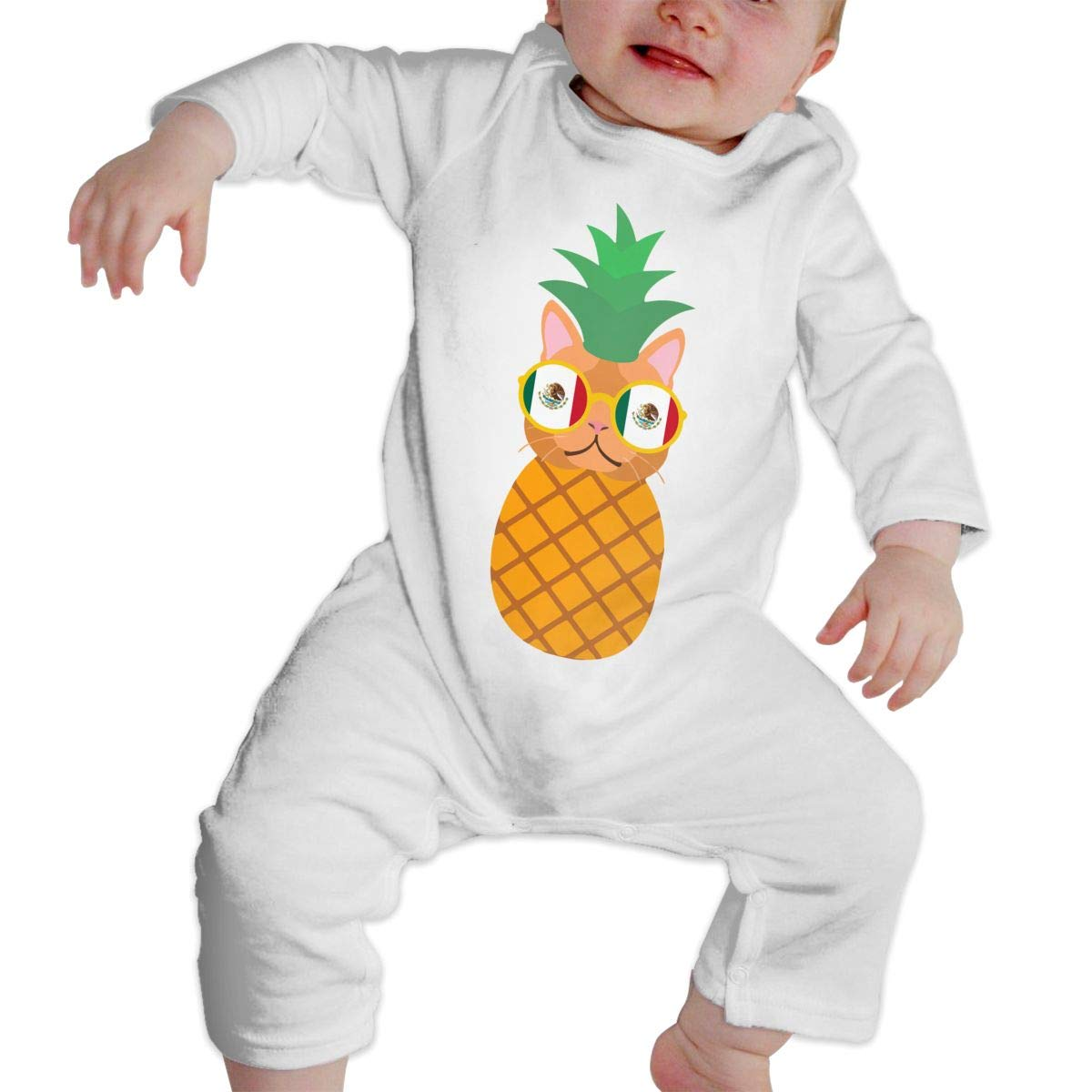 Mexican Pineapple Cat Infant Baby Boy Girl Organic Cotton Romper Pajama Clothes