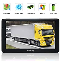 SAT NAV GPS Navigation System, Jimwey 7 Inch 8GB 256MB Capacitive Touch Screen Car Truck Lorry Satellite Navigator Device with Post Code Search Speed Camera Alerts, Include Pre-installed UK and EU Latest 2018 Maps with Lifetime Free Updates