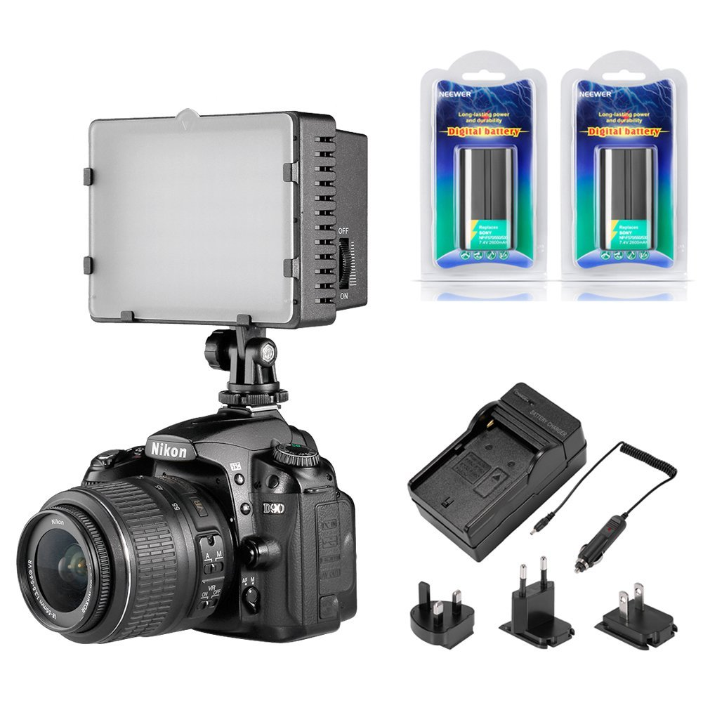 Neewer CN-216 Dimmable Panel Digital Camera Video Light Kit,Include:(1)216 LED CN-216 Video Light+(1)Battery Charger+(2)7.4V 2600mAh Li-ion Battery Pack Replacement for Sony NP-F550/570/530
