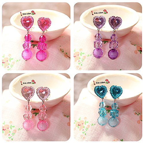 Elesa Miracle Girl Party Favor Birthday Gift Pretend Play Princess Jewelry Set 4pc Heart-Shaped Clip-on Earrings Value Set (Plastic Clip On Earrings)