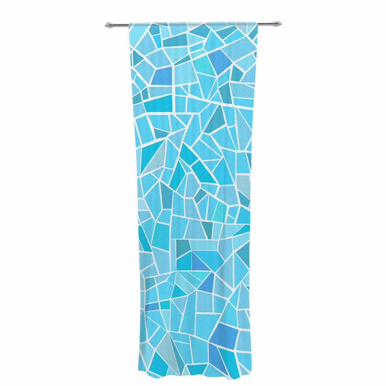Kess InHouse afe Images Abstract Mosaic Pattern Blue Pastel Illustration Decorative Set, 30' x 84' Sheer Curtains