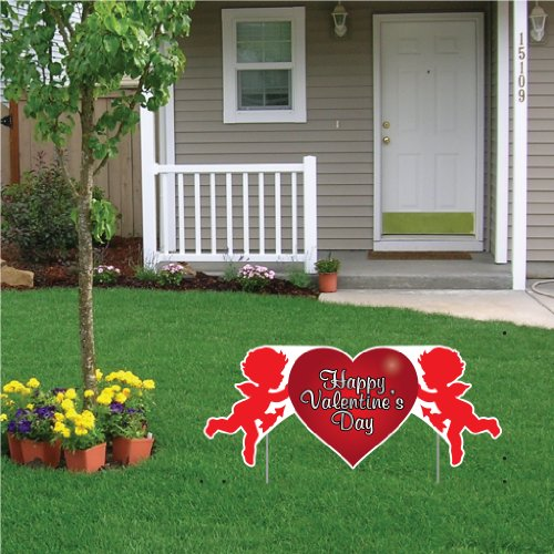 VictoryStore Yard Sign Outdoor Lawn Decorations: Valentine's Lawn Decoration - Happy Valentine's Day Cupid 2' x 4' Sign w/2 EZ stakes -