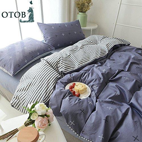 OTOB Summer Soft Duvet Cover Set Dark Blue Cross Striped Rev