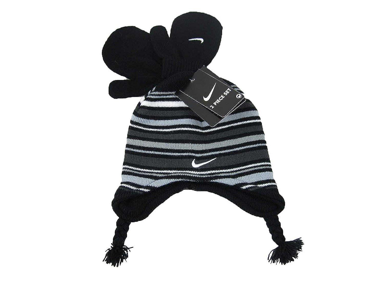 48aafd39d47 Nike Boys Size 12-24 Months Black Knit Striped Peruvian Hat Mittens Set   Amazon.co.uk  Clothing