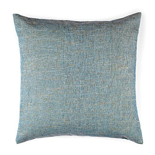 Homier Blue Color Linen Blend Decorative Pillow Cover Throw Cushion Case - Sky Blue/Powder Blue Tweed with Turquoise/Aqua Accent Linen Canvas Back - Large, 20 x 20 Inches