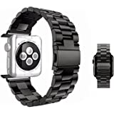 iWatch Band 42mm - MixcTech Stainless Steel Wrist Bracelet Clasp with Milled Polishing Shiny Solid Connector Buckle Strap for iWatch (black)