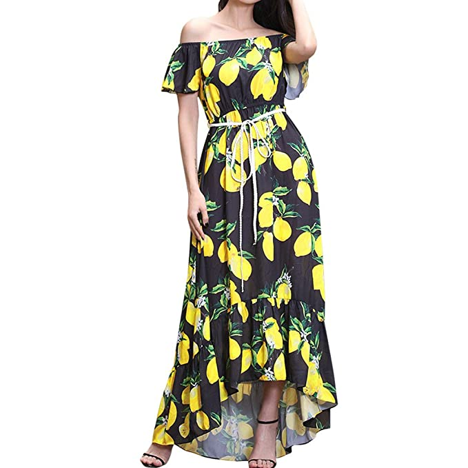 0bf78a5da87b Yusealia Women Boho Floral Print Maxi Dresses Off Shoulder Sexy Short  Sleeve Dress with Belt Prom Evening Cocktail Party Dress Casual Summer  Beach Sundress  ...