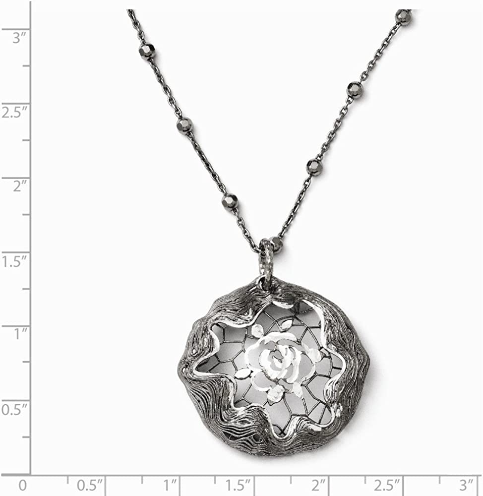 Sterling Silver Ruthenium-Plated Necklace w// 2in ext