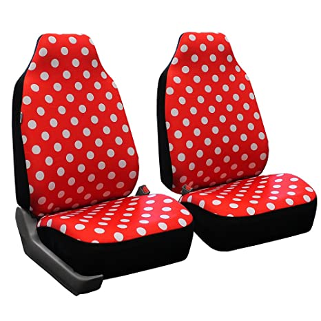 FH Group FB115RED102 Red Stylish Polka Dot Car Seat Cover Set Of 2 High
