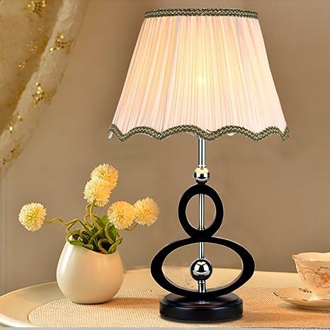 HM&DX Lámpara de mesa,Base madera sólida de la mesita ...