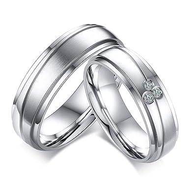 ec678a282 Aruie Bague Anneau pour Homme Femme en Acier Inoxydable avec Diamant Simulé  Oxyde de Zirconium Ligne Couple Alliance Fiançailles Mariage Bijoux