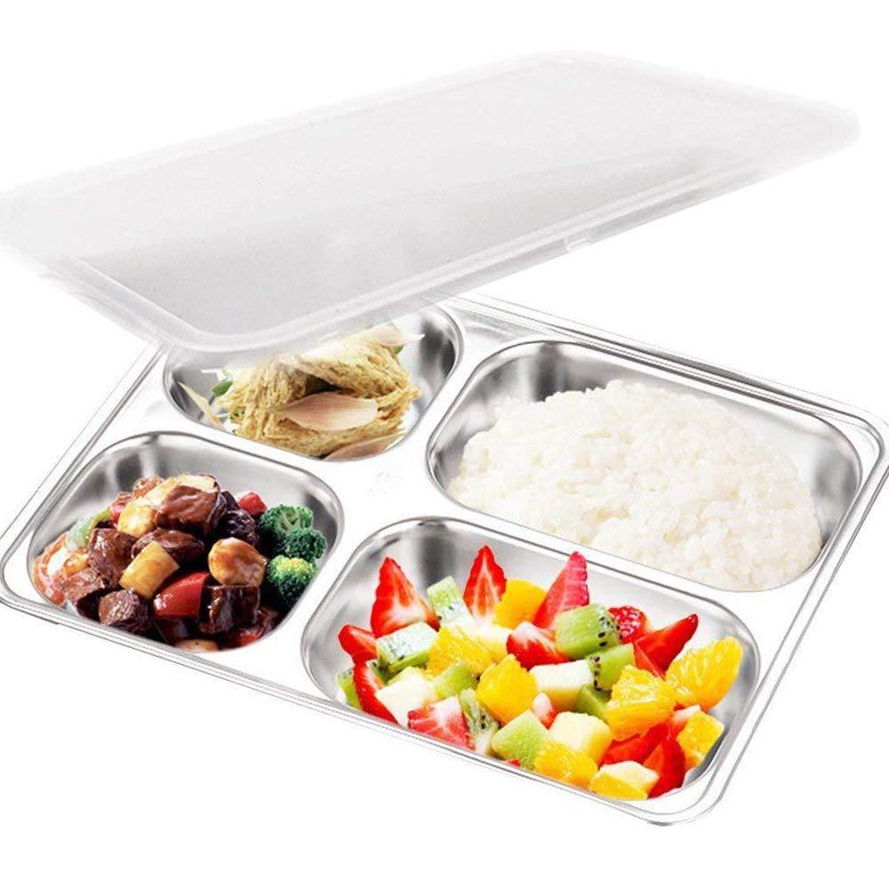 Teerfu 304stainless steel Bento lunch box ,3vano contenitori per alimenti con coperchi, divisa Portion Control Container plates-microwave, lavabile in lavastoviglie, comprende posate 3 Compartments Silver UK101-861-3ge