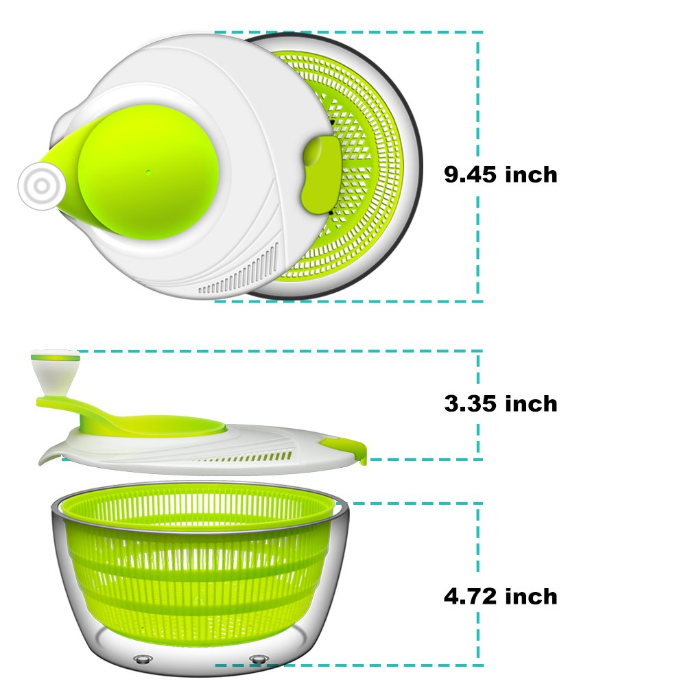Salad Spinner, ANKO BPA Free Certified 4.2 Quart Capacity Vegetable Dryer Strainer with Vegetable Scissors, Ease for Tastier Salads and Faster Food Prep (1) by ANKO (Image #6)