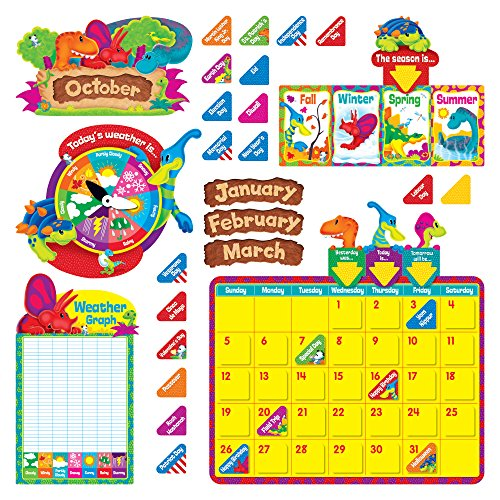 Trend Enterprises T-8370BN Dino-Mite Pals Calendar Bulletin Board Set, Pack of 2 Sets