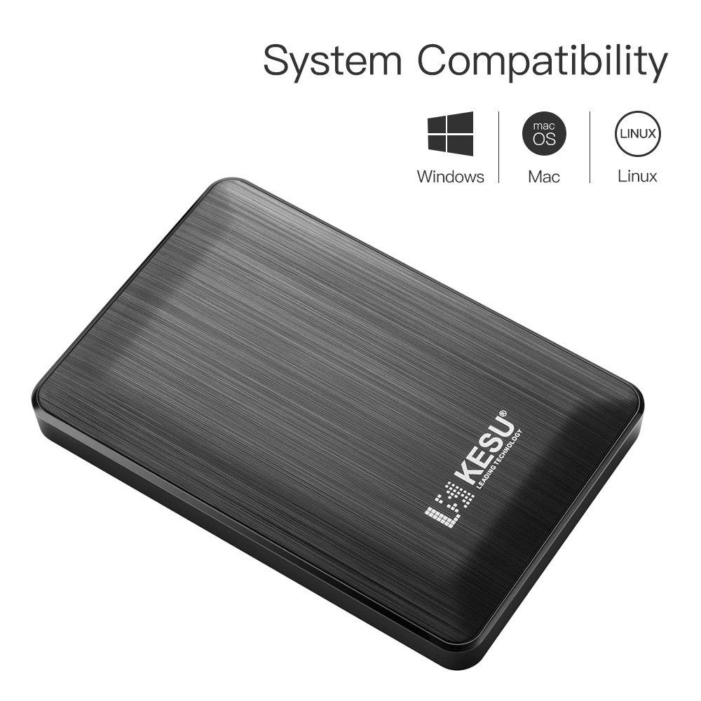 KESU Ultra Slim 120GB Externe Tragbare Festplatte Mac Schwarze TV 2,5 Zoll USB 3.0 Backups HDD Tragbaref/ür f/ür PC