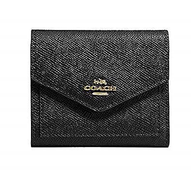 a35140523c94 Amazon.com: COACH Women's Crossgrain Leather Small Wallet Li/Black ...