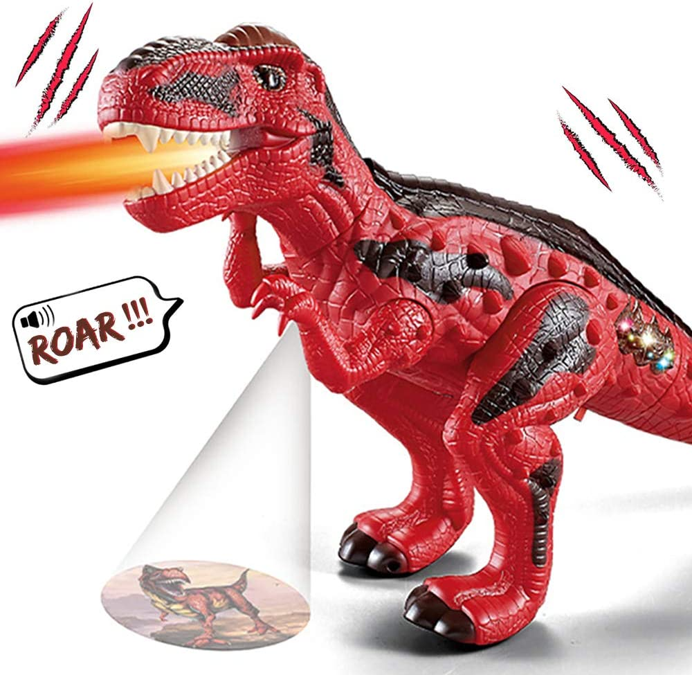 AINOLWAY Electronic Walking Dinosaur Toy Realistic Roaring Projecting Spraying Red Tyrannosaurus Rex for Kids Boys Girls Gift
