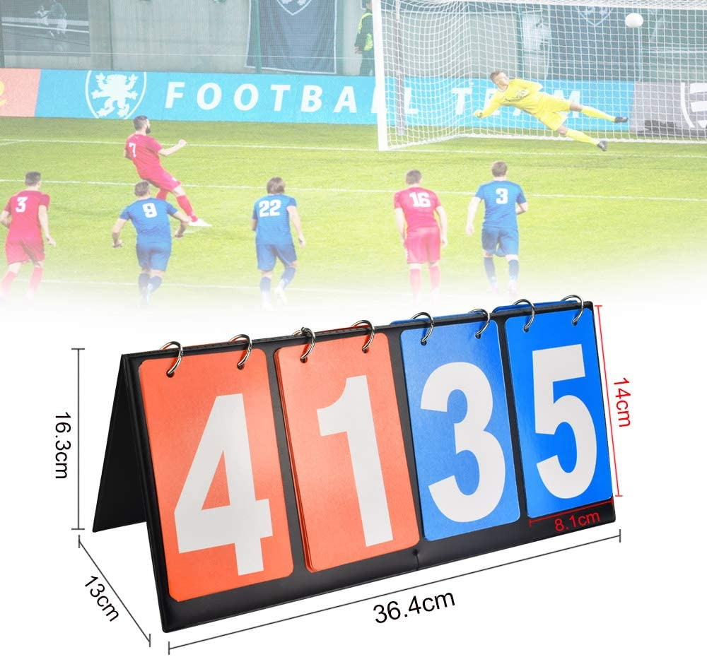 4 Digit, Red and Blue KLYNGTSK Score Boards Sports Foldable Sports Scoreboard Lightweight Portable Basketball Scoreboard Table Scoreboard for Football Basketball Volleyball Table Tennis
