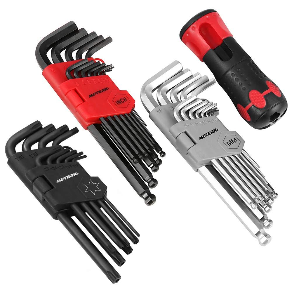Clés Allen Meterk® Jeu de clés 35pcs(Métrique/Impérial/Torx) avec Poignée matériau CR-V inclus tête de plate, de boule, de Torx antirouille