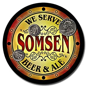 Somsen Family Name Beer and Ale Rubber Drink Coasters - Set of 4