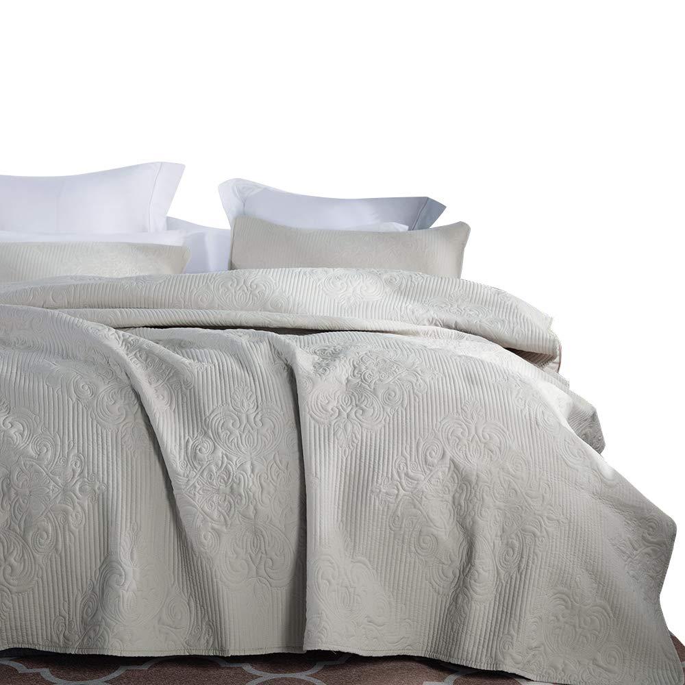 jinchan Quilt Set Bedspread Embossed Medallion Damask Coverlet Set Comforter Lightweight Microfiber Year Round Bedding, King Size, Taupe