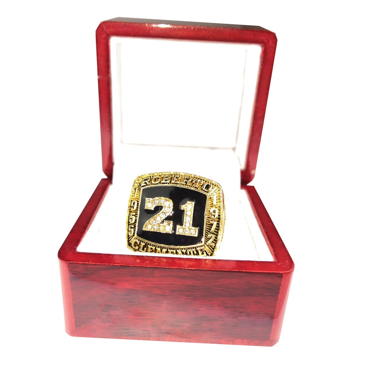 RongJ- store Robert Clemente 1955 to 1972 Basketball Championship Ring Cherrywood Display case