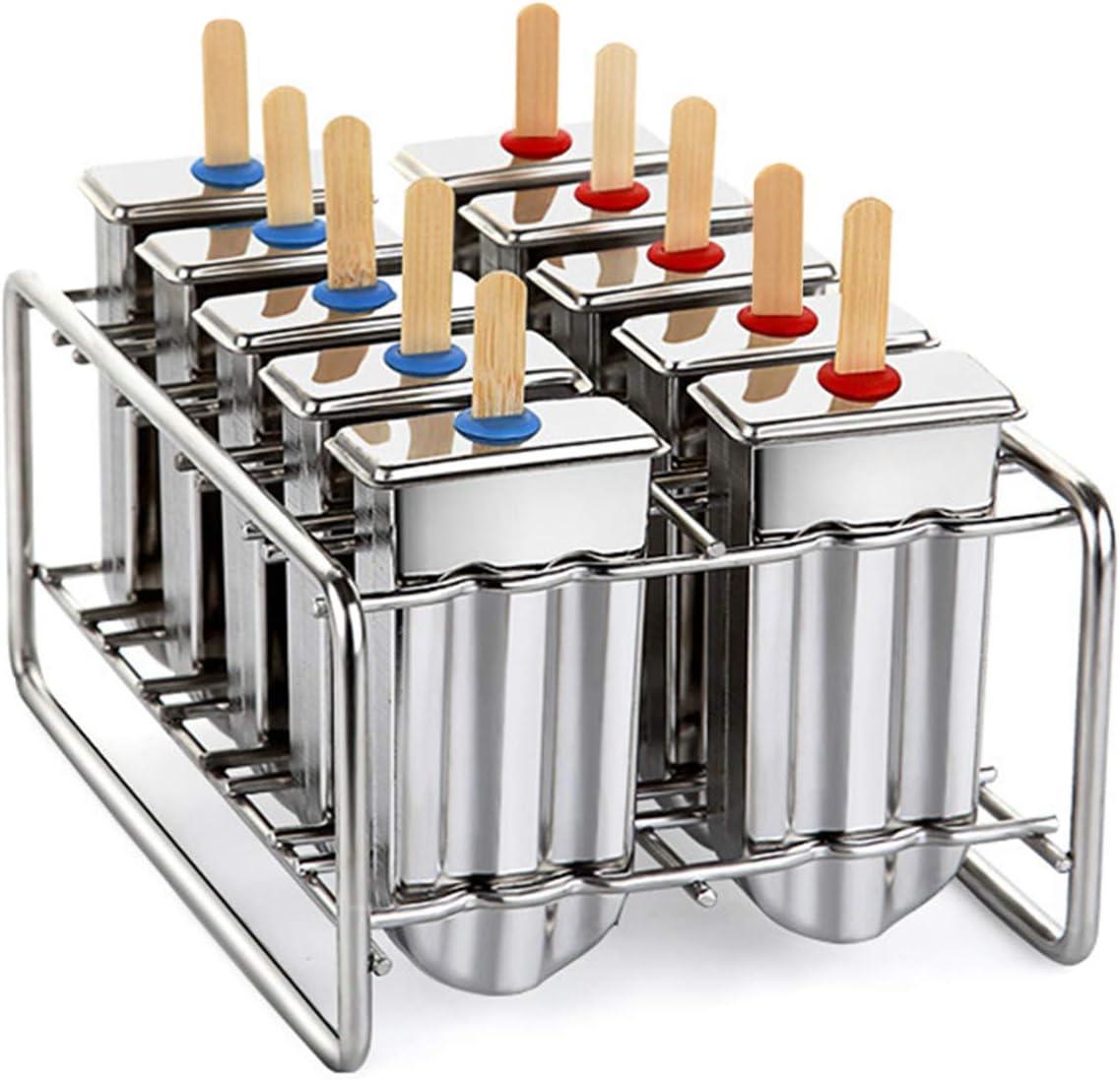 10 Molds Stainless Steel Popsicle Ice Cream Stick Holder Mold 100Pcs Sticks US