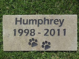 Sandblast Engraved Grey Stone Pet Memorial Headstone Grave Marker Dog Cat nd 4x8