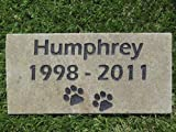 Sandblast Engraved Grey Stone Pet Memorial Headstone Grave Marker Dog Cat nd 4x8